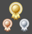 Golden silver and bronze metallic rosettes vector