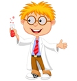 Boy cartoon doing holding reaction tube vector