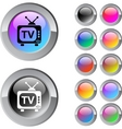 Tv multicolor round button vector