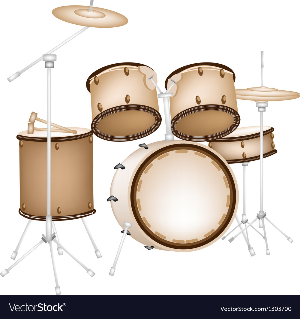 A beautiful drum kit on white background vector | Price: 1 Credit (USD $1)