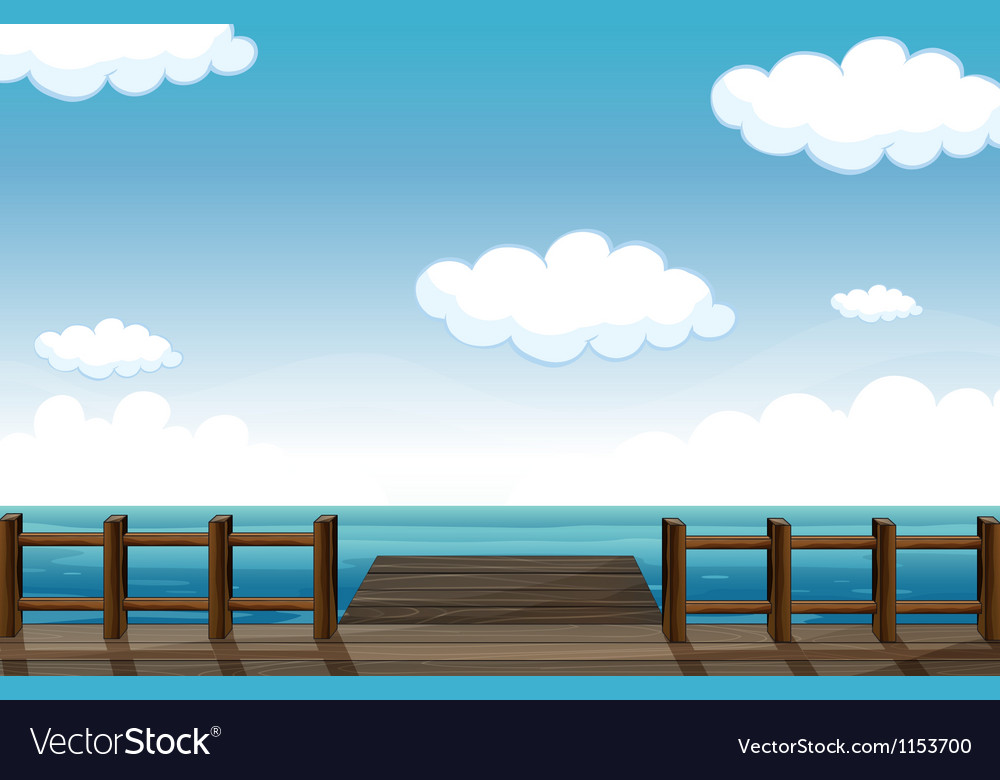A wooden bench and water vector | Price: 1 Credit (USD $1)