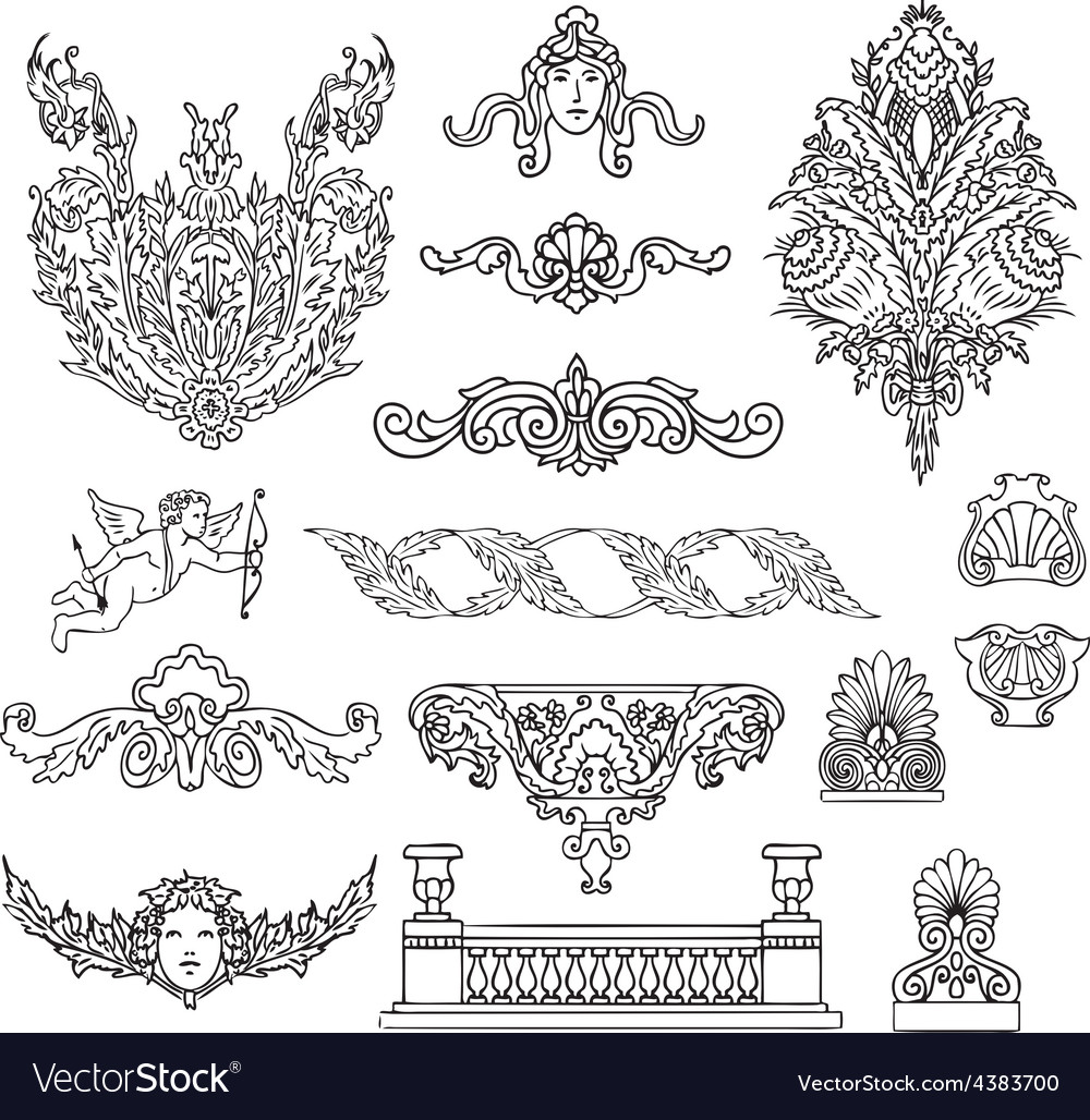 Antique and baroque ornaments set vector