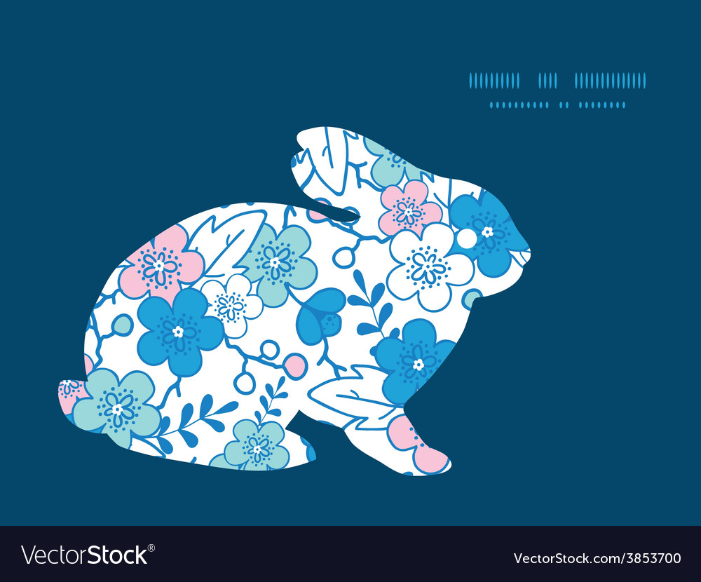 Blue and pink kimono blossoms bunny rabbit vector | Price: 1 Credit (USD $1)