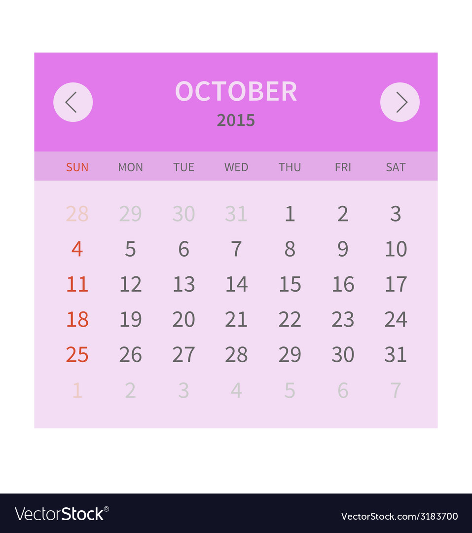 Calendar monthly october 2015 in flat design vector | Price: 1 Credit (USD $1)