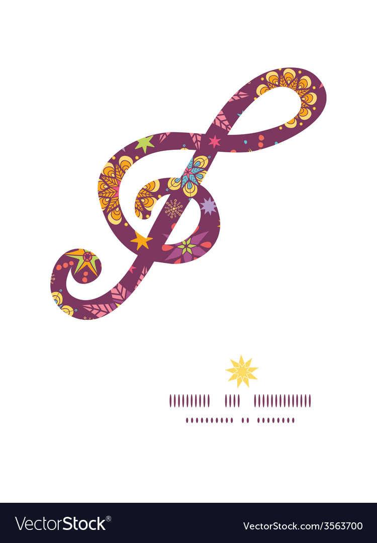 Colorful stars g clef musical silhouette pattern vector | Price: 1 Credit (USD $1)