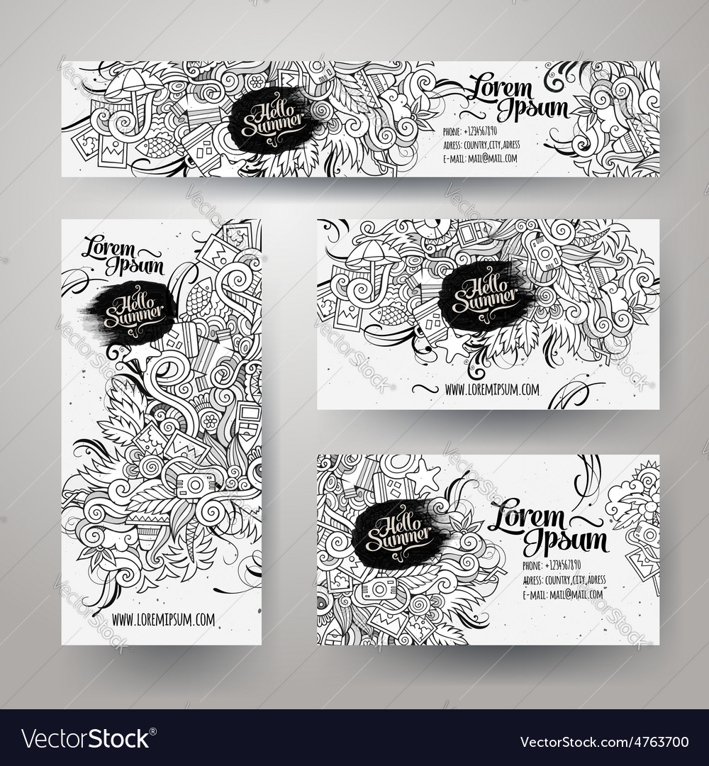 Corporate identity templates set with doodles vector | Price: 1 Credit (USD $1)