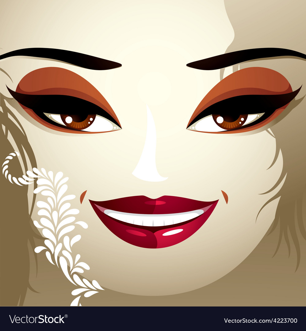 Cosmetology theme image young pretty lady with vector | Price: 1 Credit (USD $1)