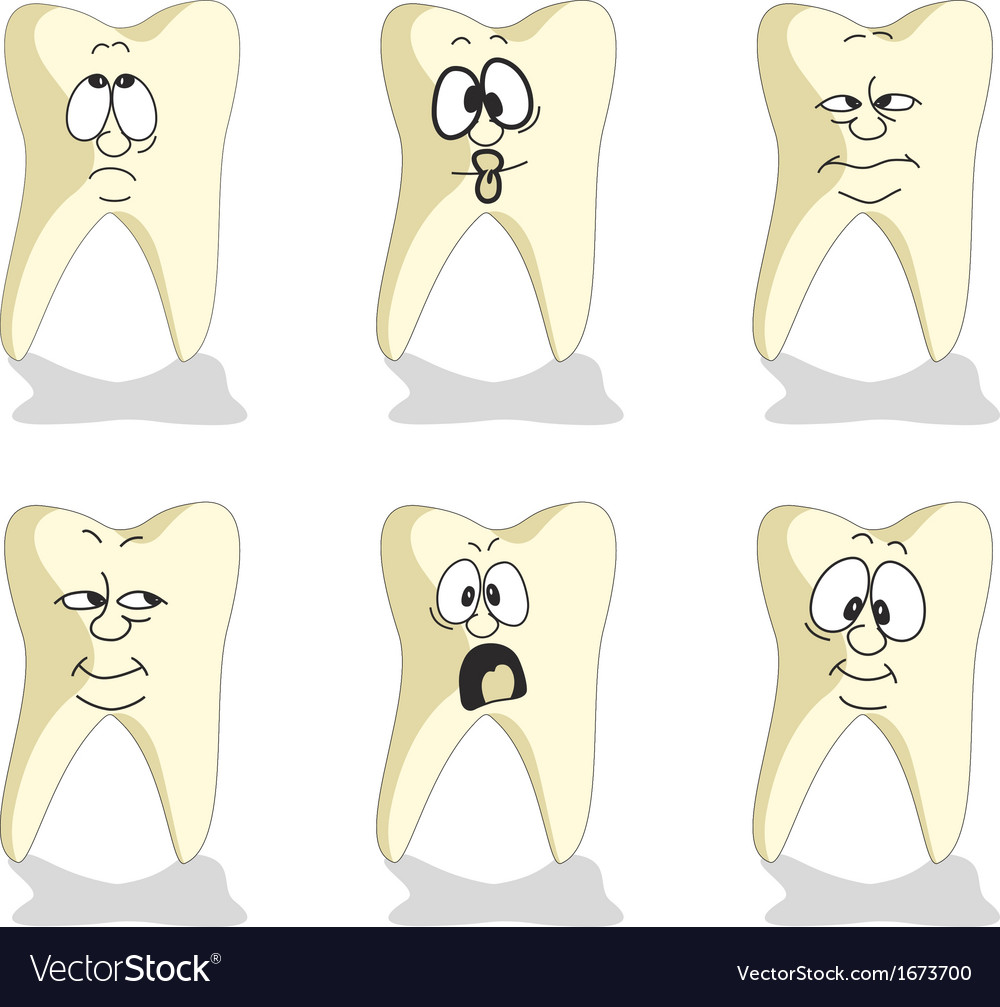 Emotion tooth cartoon set 007 vector | Price: 1 Credit (USD $1)