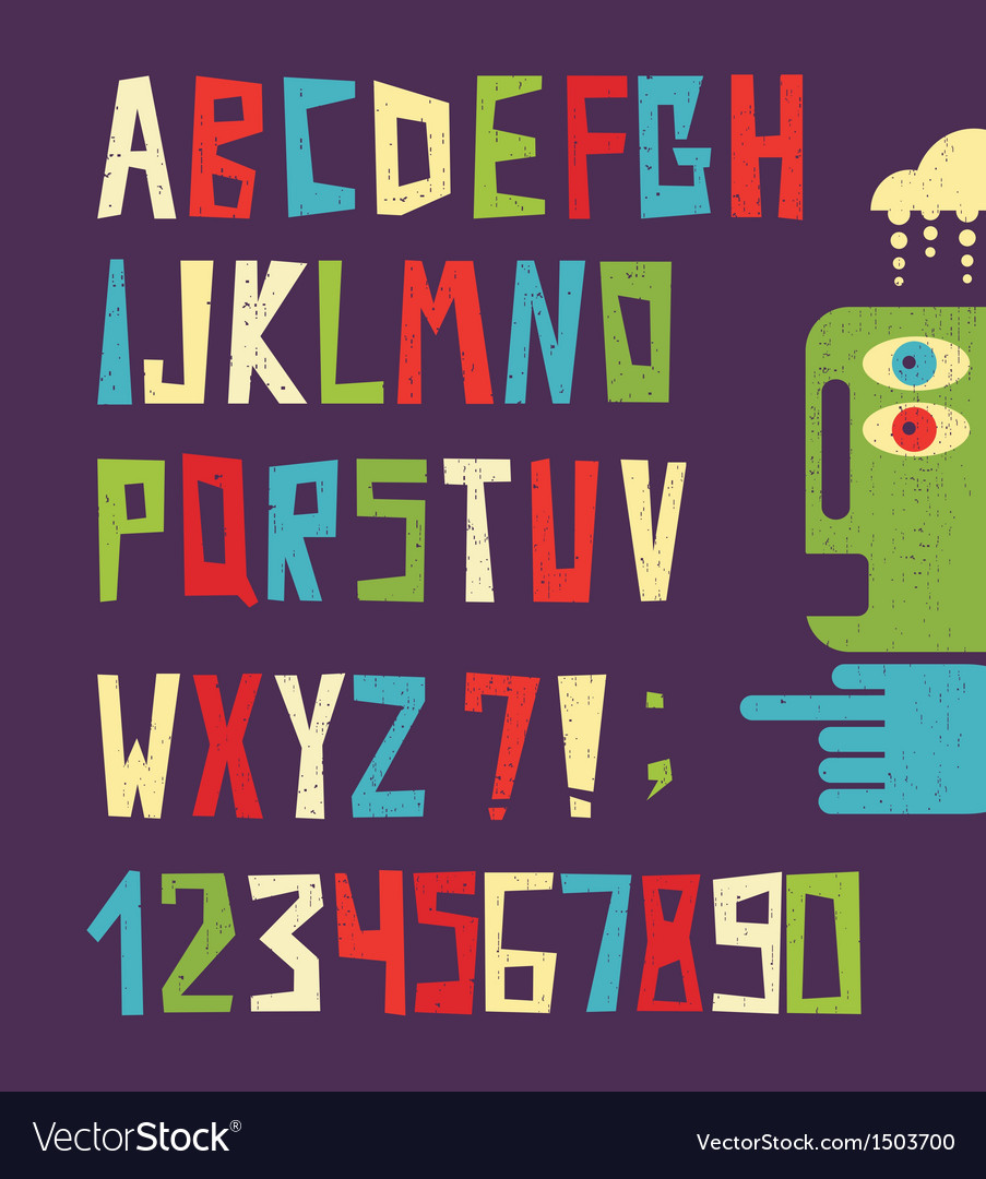 Funny alphabet letters with numbers vector | Price: 1 Credit (USD $1)