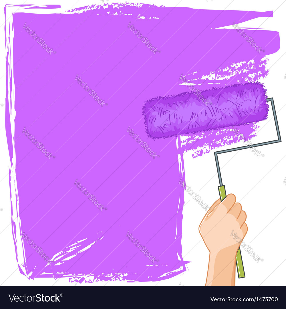 Hand with roller-brush paints the wall vector | Price: 1 Credit (USD $1)
