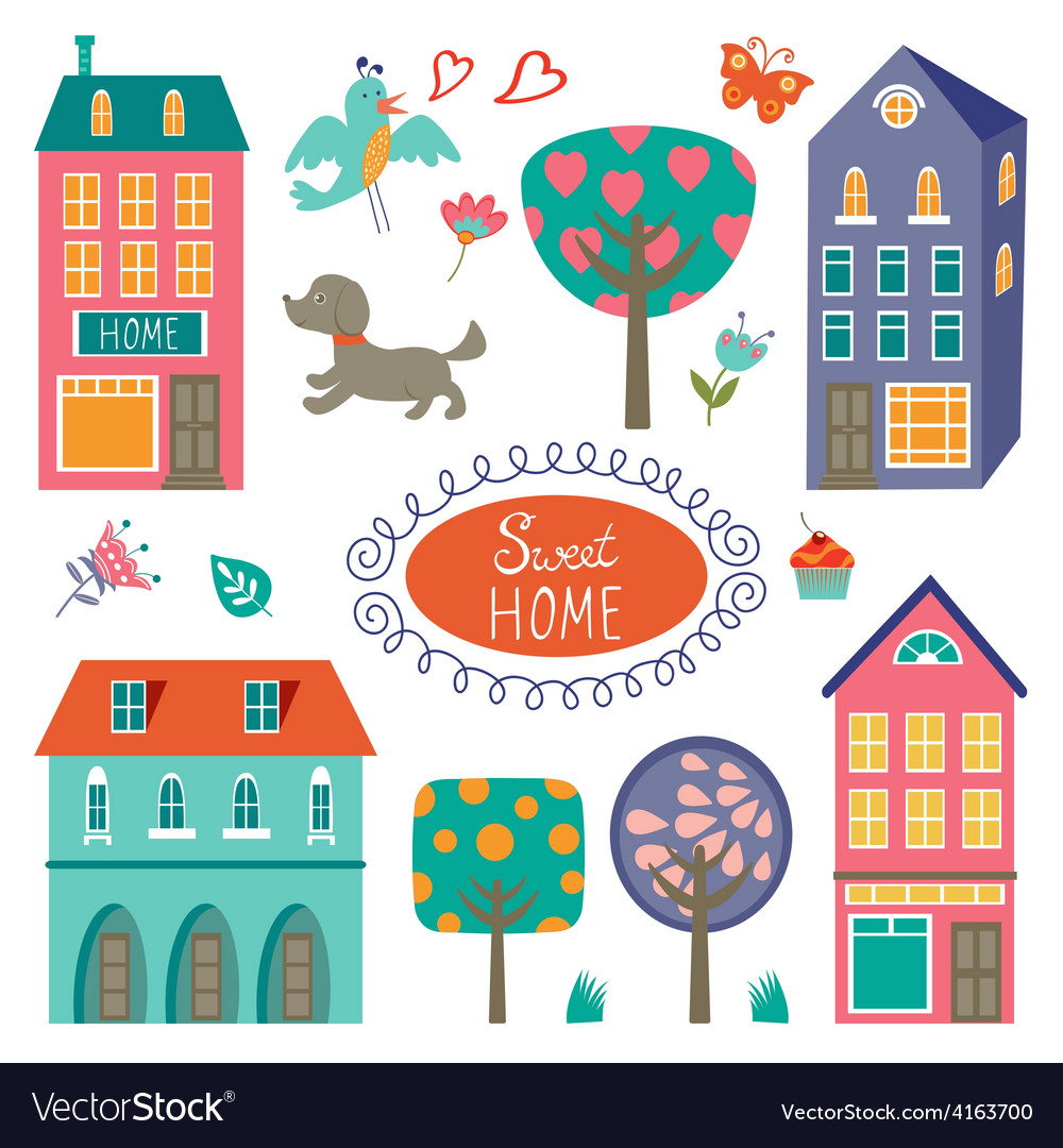 Home sweet home colorful set vector | Price: 1 Credit (USD $1)