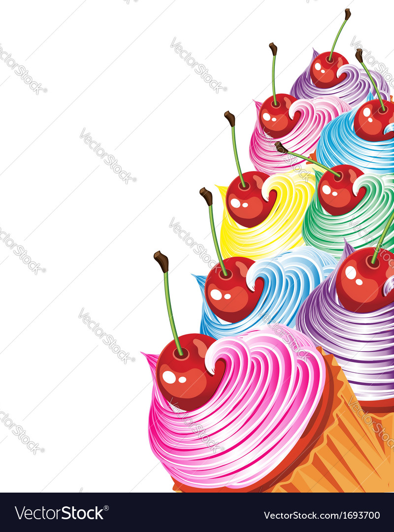 Set of colorful cupcakes vector | Price: 1 Credit (USD $1)