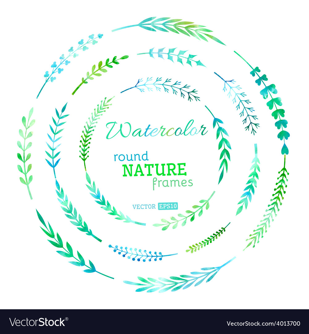 Set of watercolour nature frames vector   Price: 1 Credit (USD $1)