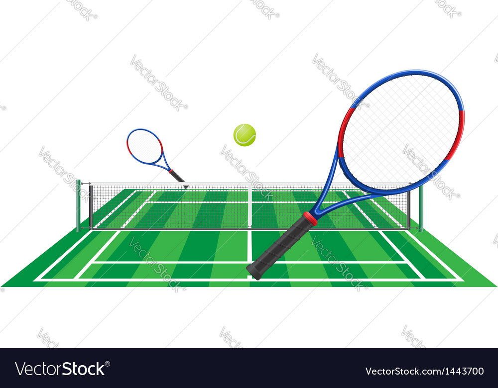 Tennis court rackets and ball vector | Price: 1 Credit (USD $1)