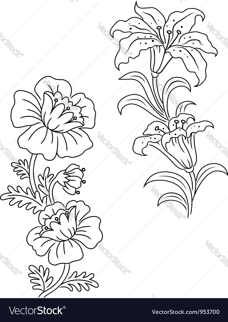 Vintage flowers and decor set vector | Price: 1 Credit (USD $1)