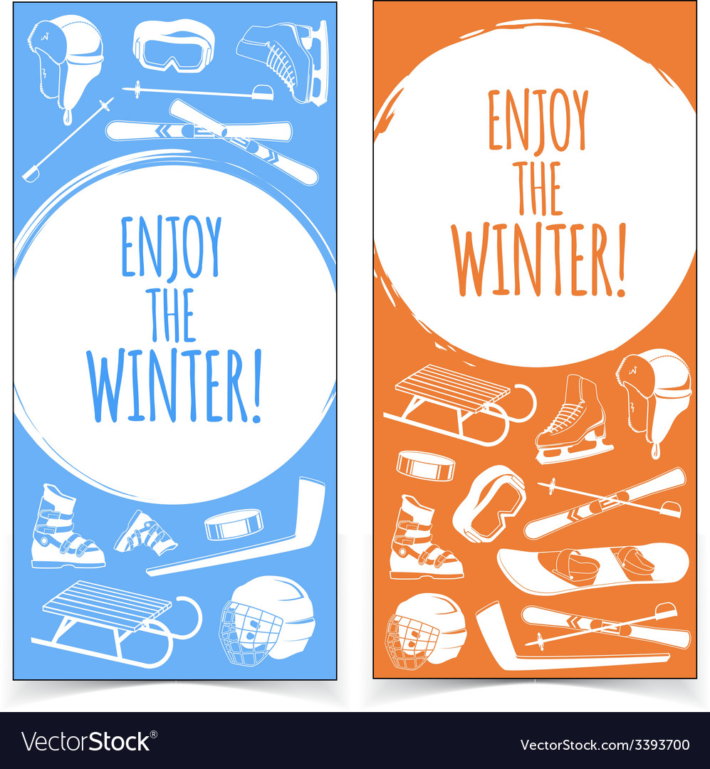 Winter sports banners vector | Price: 1 Credit (USD $1)