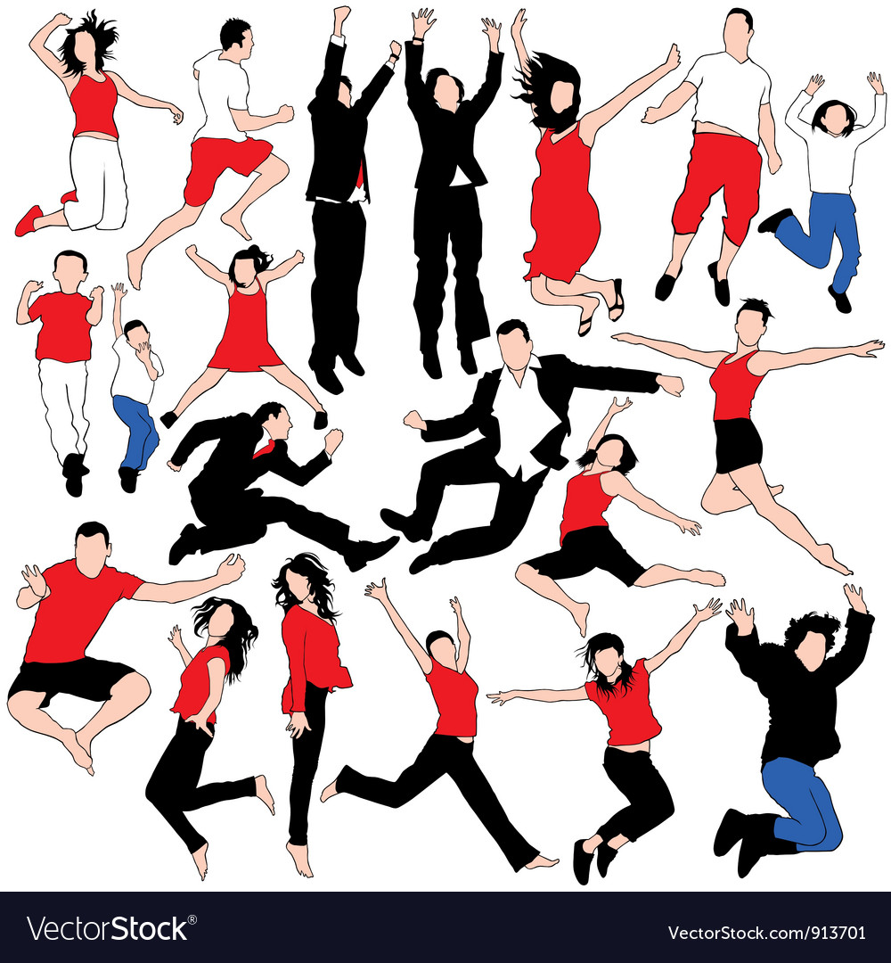 20 jumping people silhouettes vector | Price: 1 Credit (USD $1)