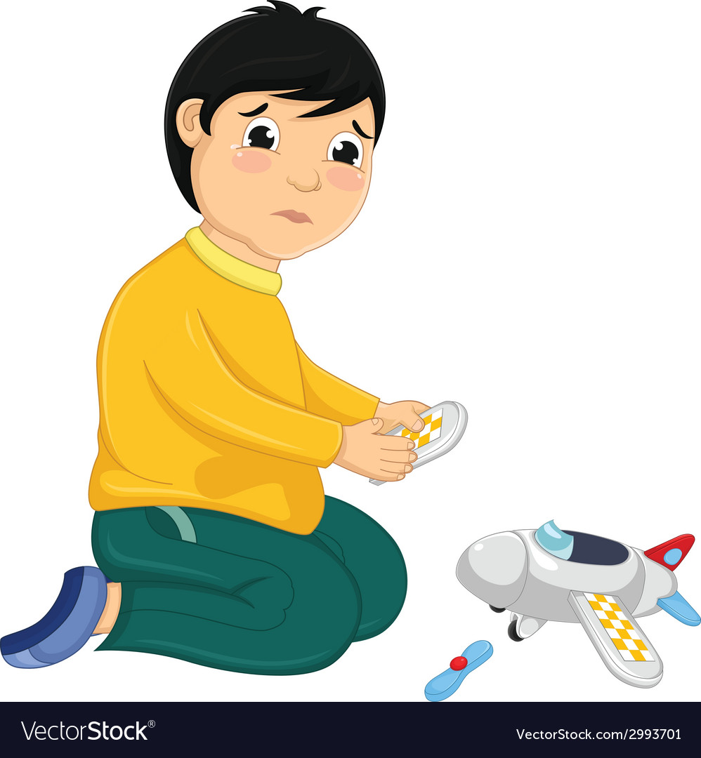 Boy with his broken toy vector | Price: 1 Credit (USD $1)