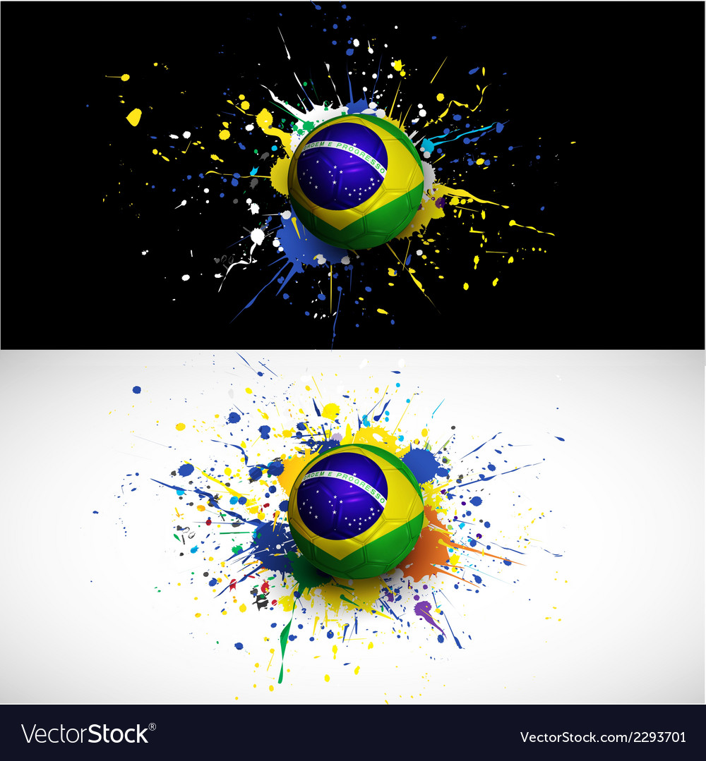 Brazil flag with soccer ball dash on colorful vector | Price: 1 Credit (USD $1)