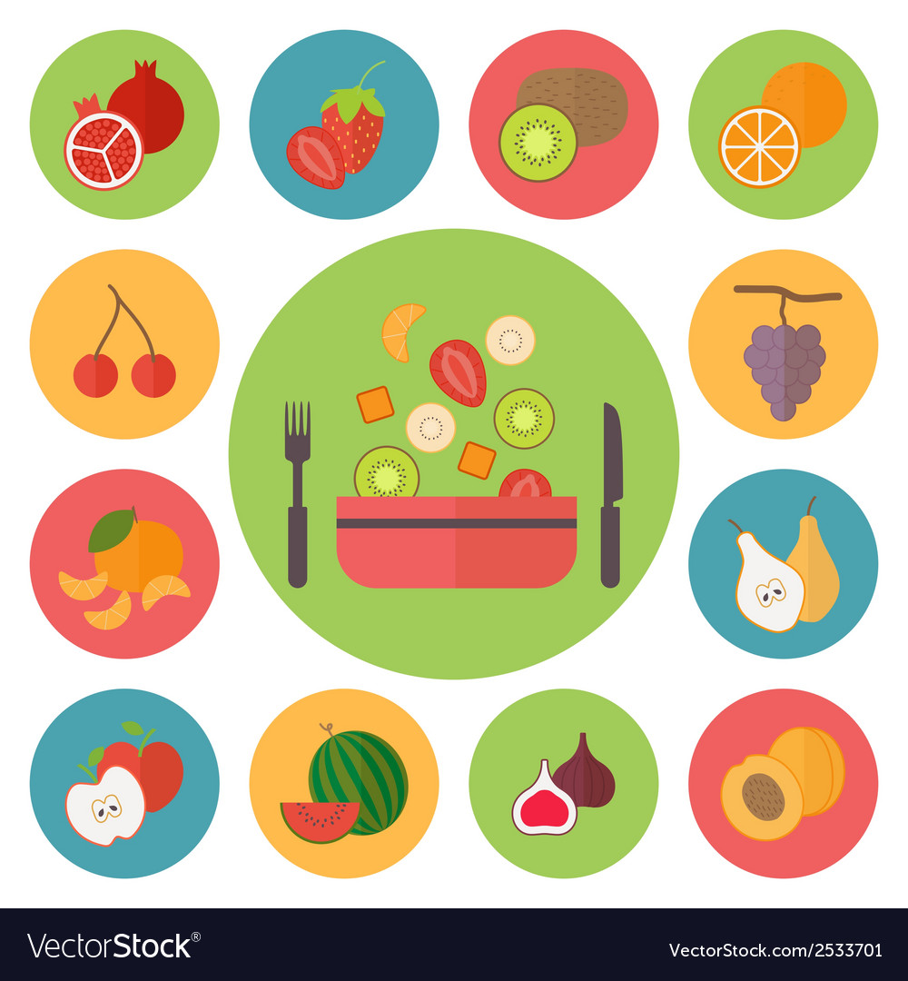 Fruit icons food set for cooking restaurant menu vector | Price: 1 Credit (USD $1)