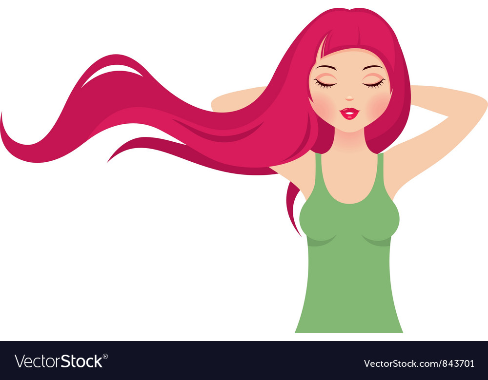 Girl with long pink hair vector | Price: 3 Credit (USD $3)