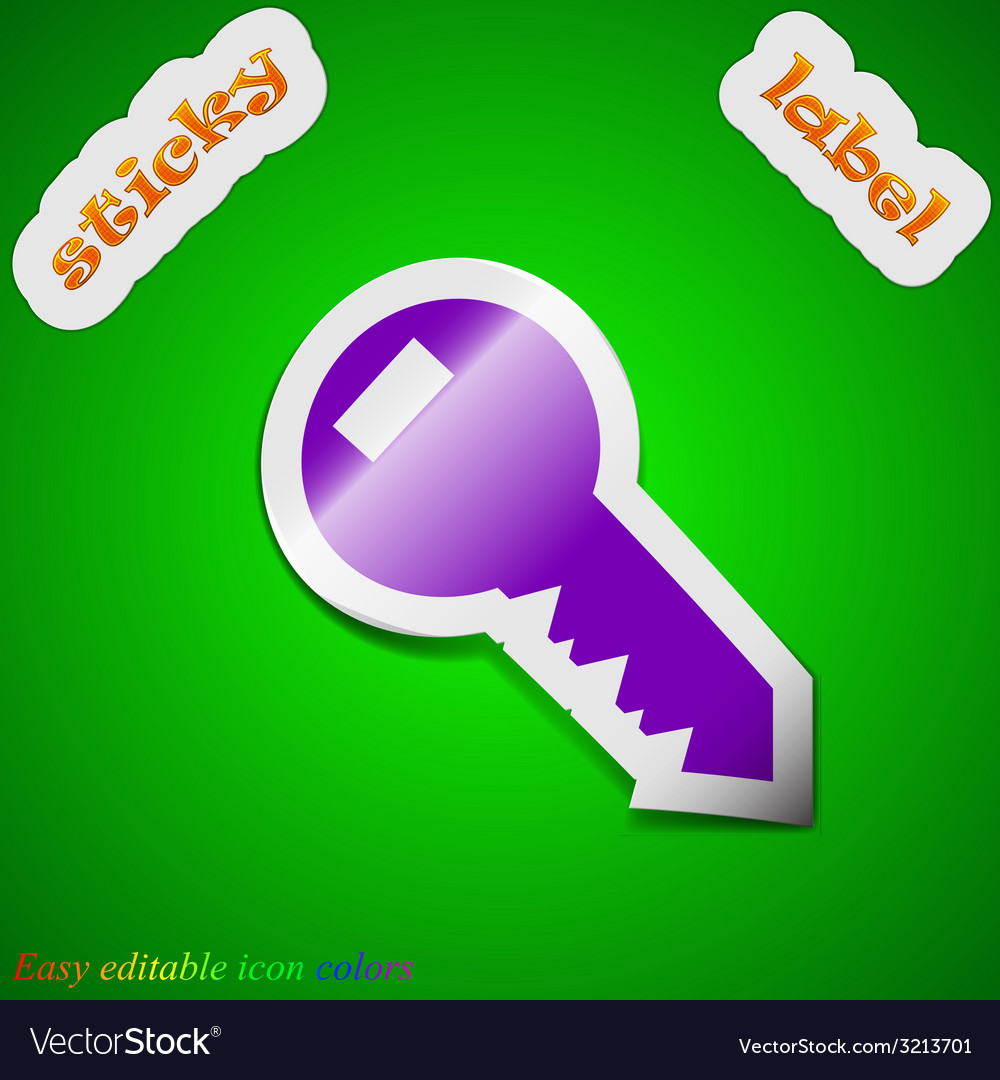 Key icon sign symbol chic colored sticky label on vector   Price: 1 Credit (USD $1)