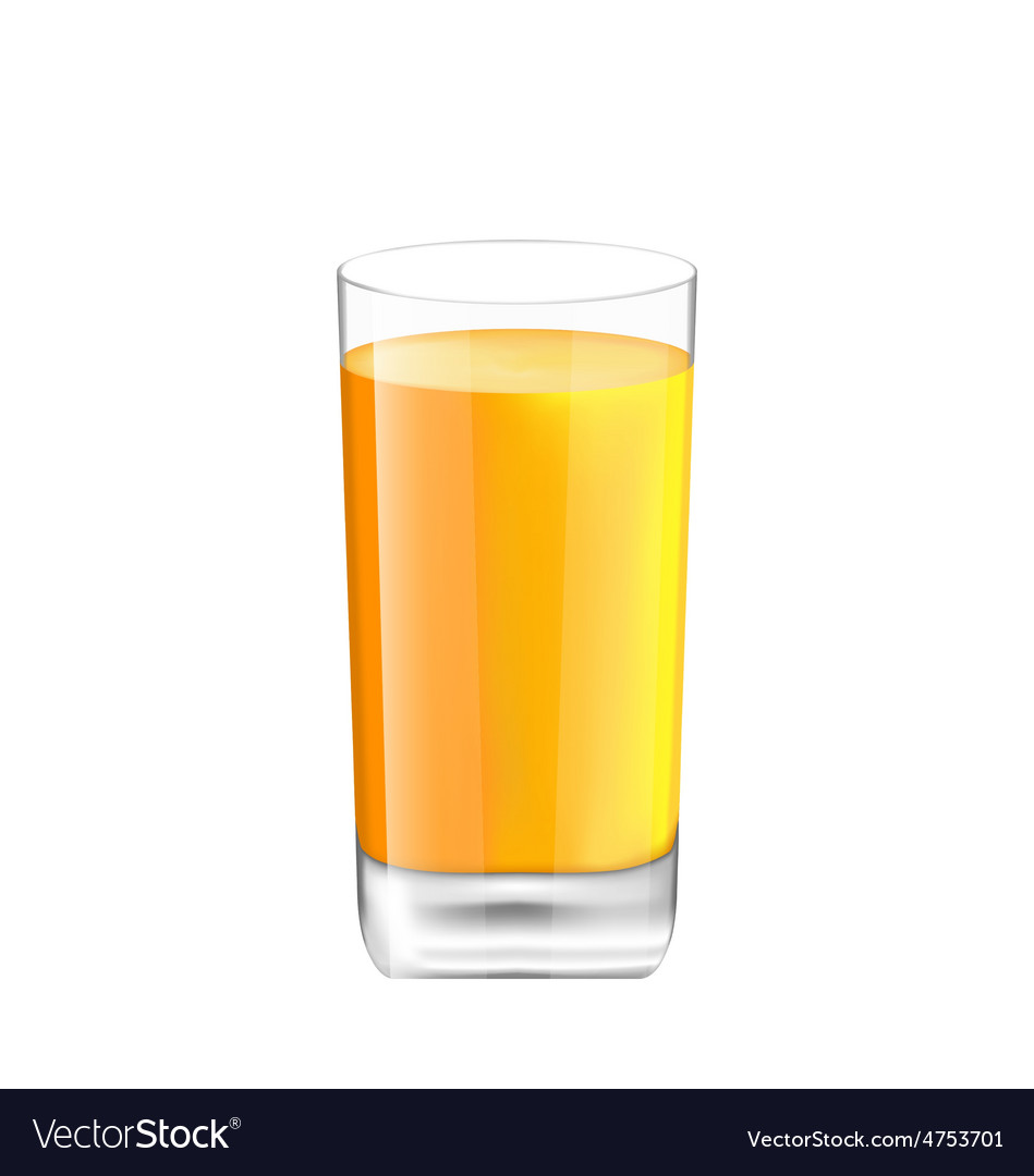Orange juice in glass isolated on white background vector | Price: 1 Credit (USD $1)