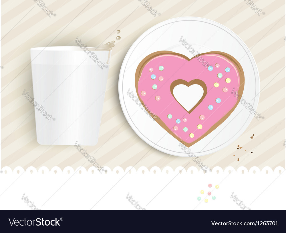 Pink heart shaped doughnut vector | Price: 1 Credit (USD $1)
