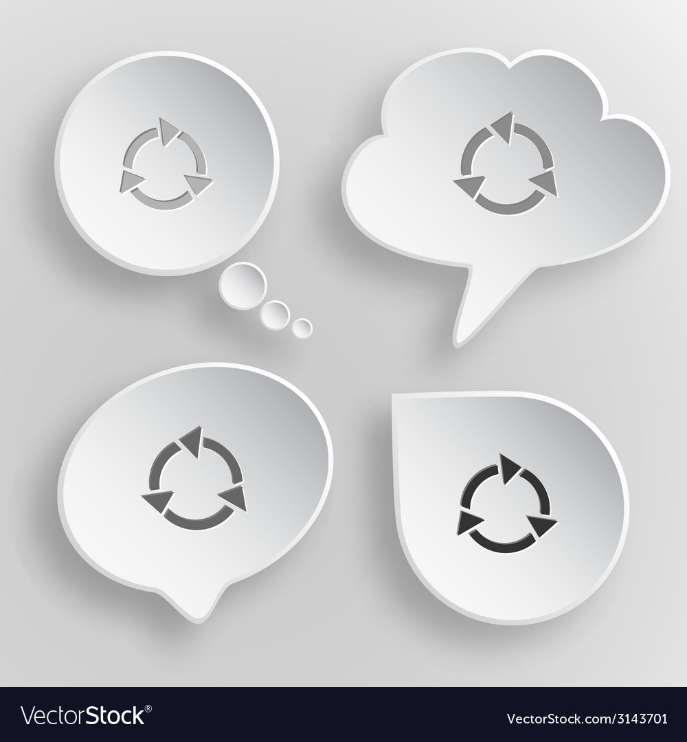 Recycle symbol white flat buttons on gray vector | Price: 1 Credit (USD $1)