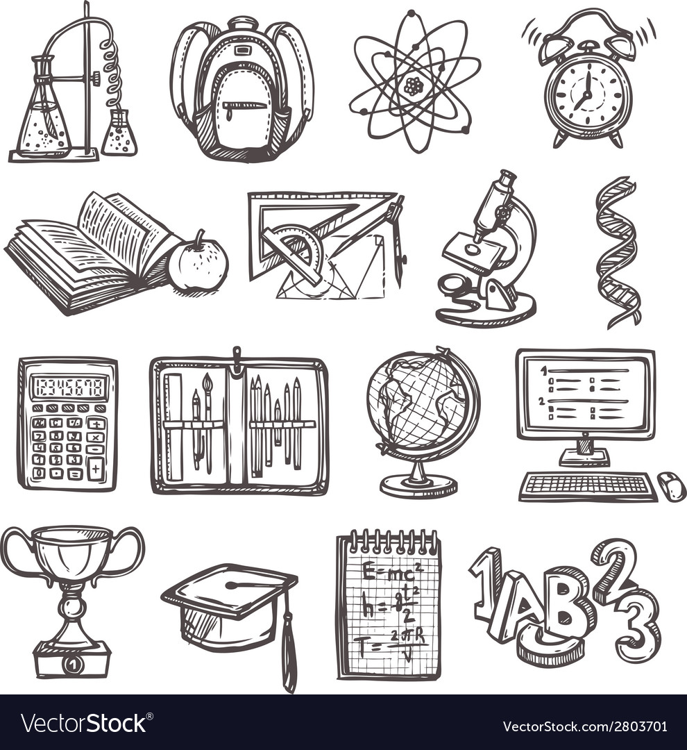 School education sketch icons vector | Price: 1 Credit (USD $1)
