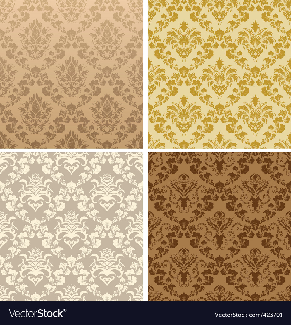Seamless damask pattern set vector | Price: 1 Credit (USD $1)
