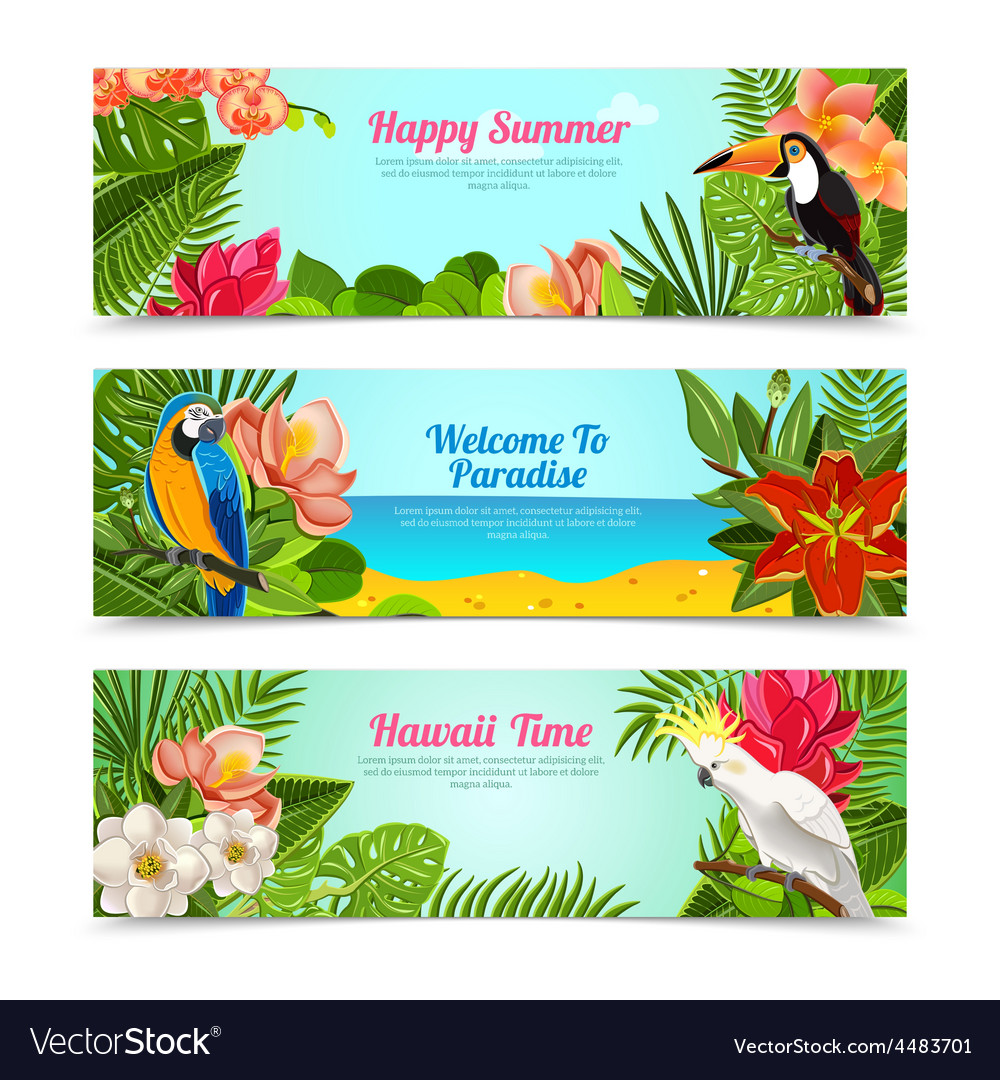 Tropical island flowers horizontal banners set vector