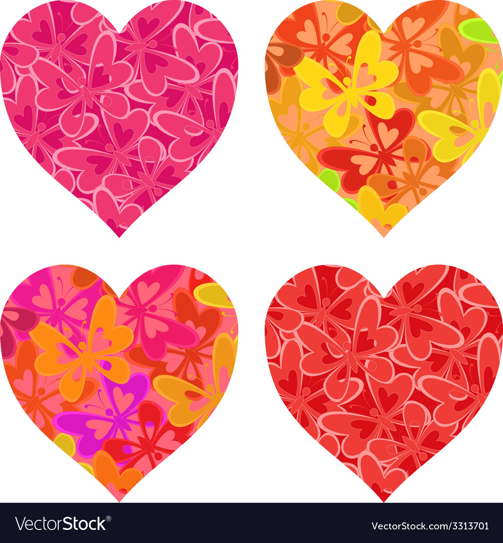Valentine hearts with butterflies pattern vector | Price: 1 Credit (USD $1)