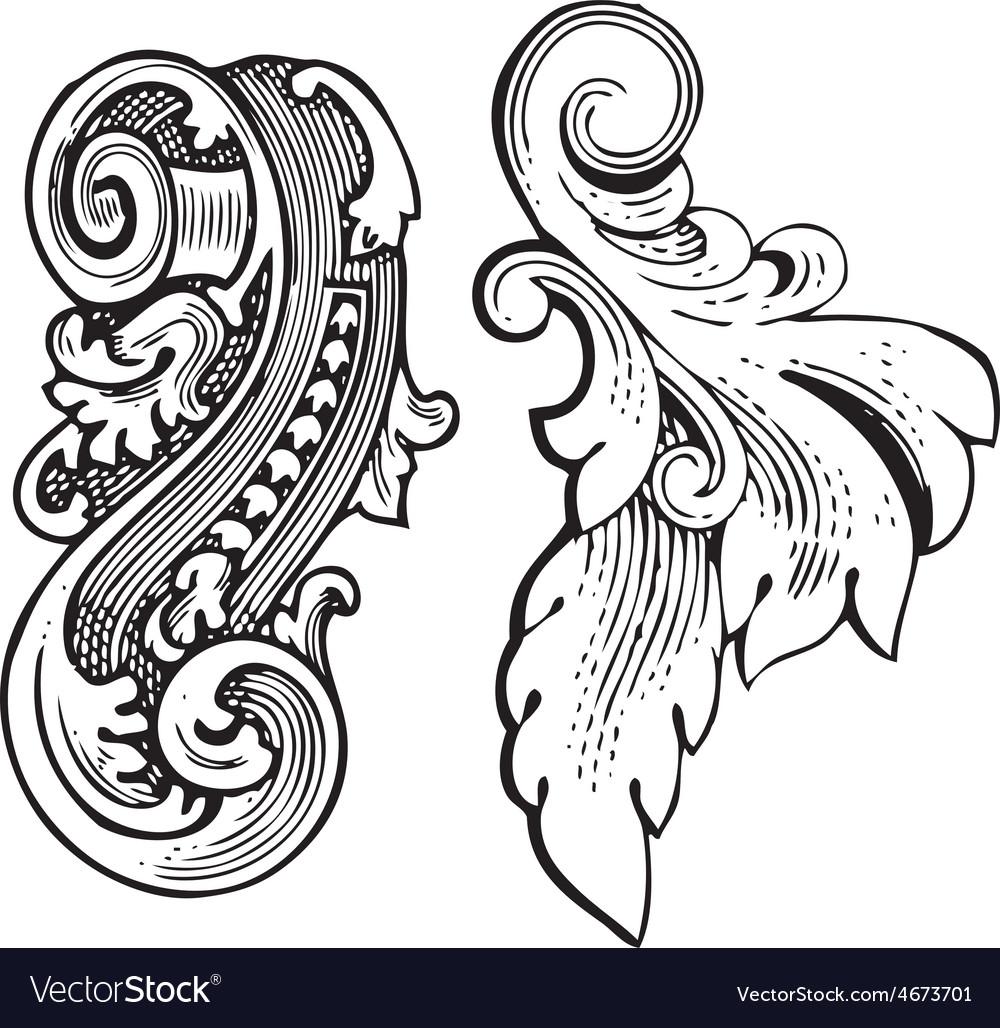Vintage floral wood print decorative elements vector | Price: 1 Credit (USD $1)