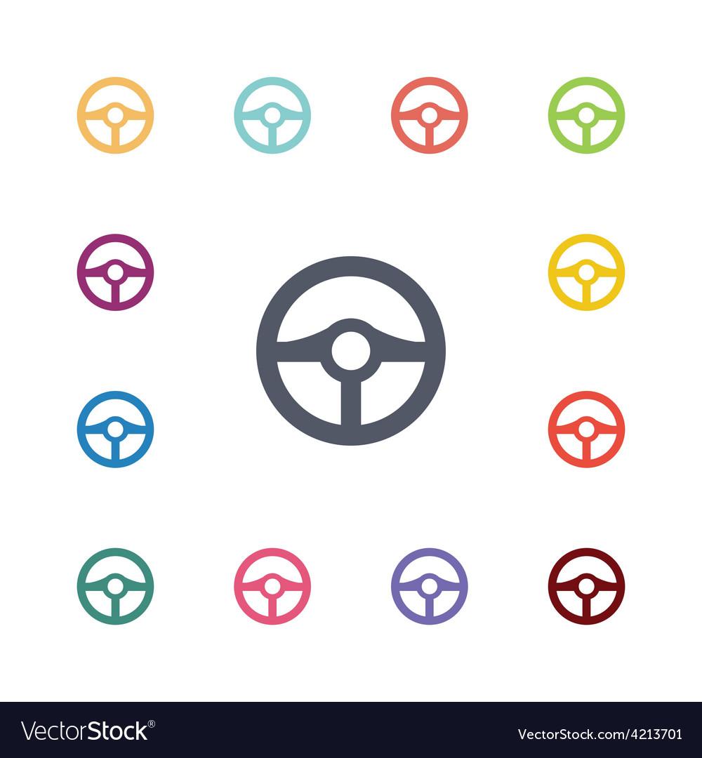 Wheel flat icons set vector | Price: 1 Credit (USD $1)