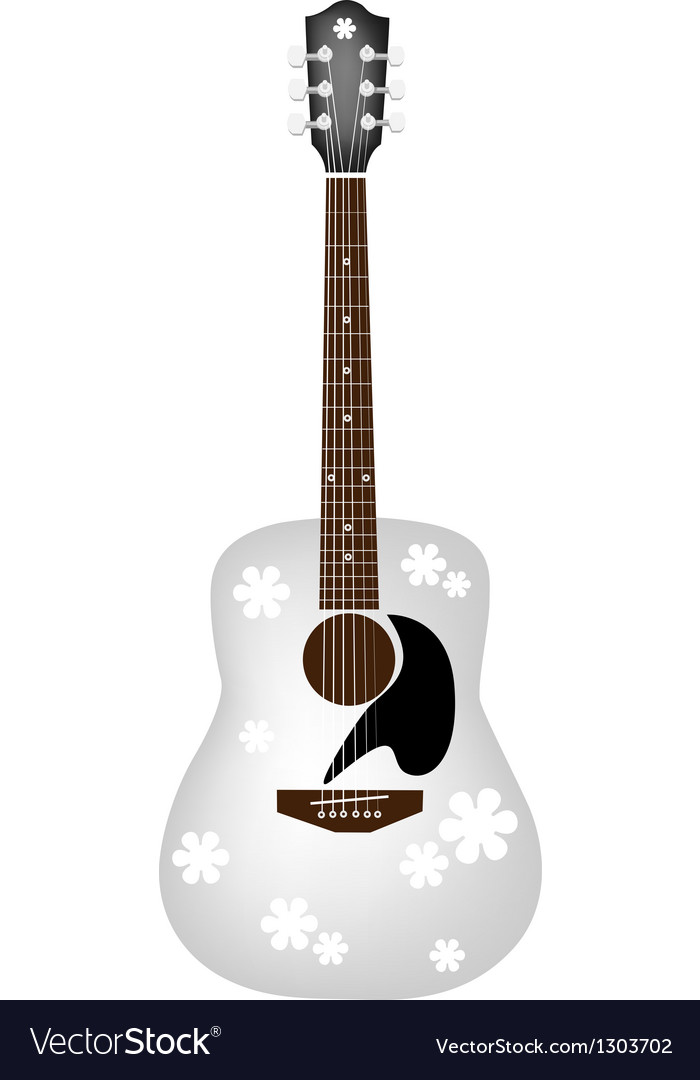 Beautiful flowers pattern on white acoustic guitar vector | Price: 1 Credit (USD $1)