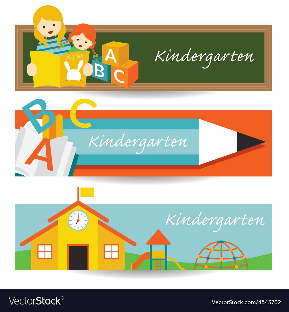 Kindergarten preschool banner vector   Price: 1 Credit (USD $1)