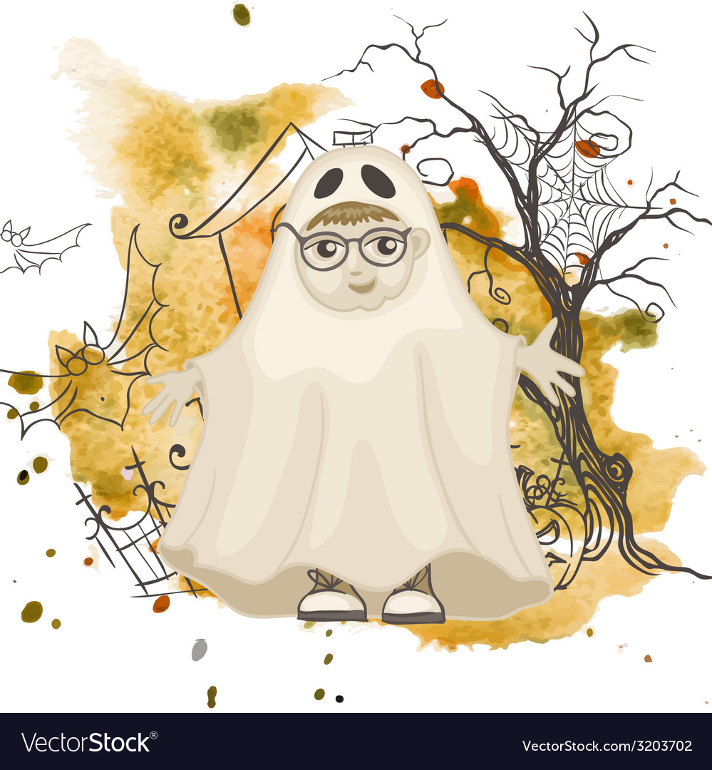 Little ghost halloween background vector | Price: 1 Credit (USD $1)