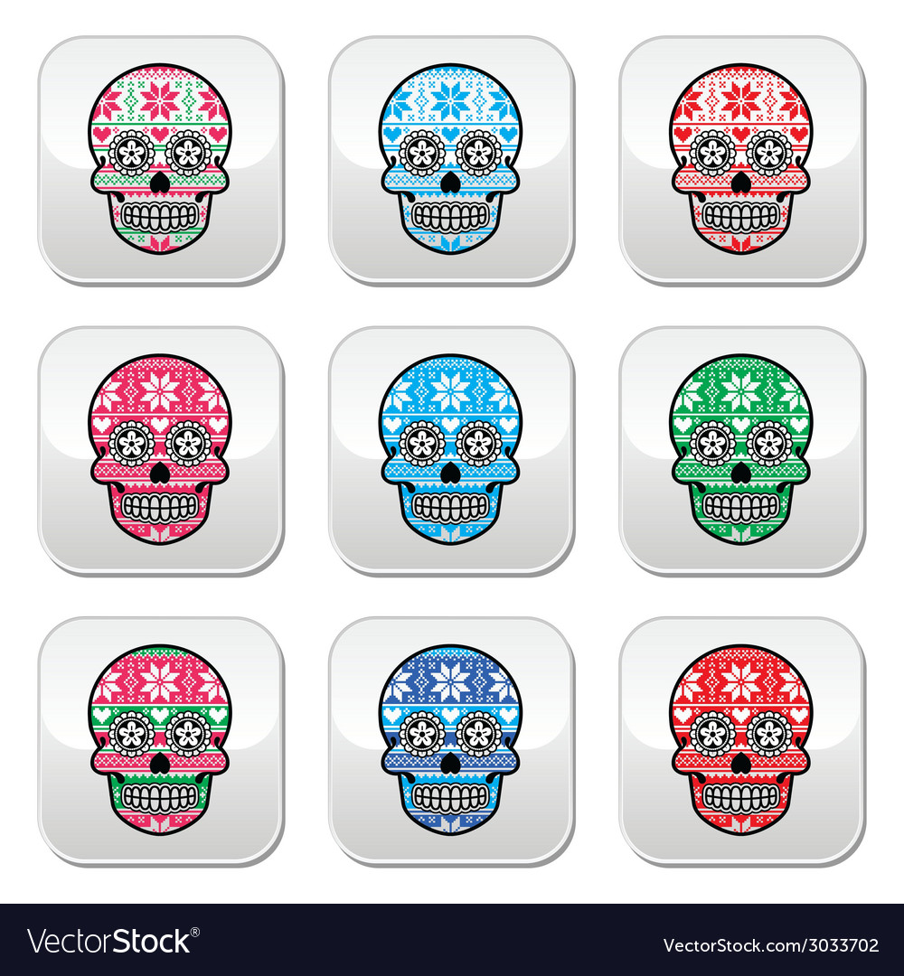 Mexican sugar skull buttons with winter nordic pat vector | Price: 1 Credit (USD $1)