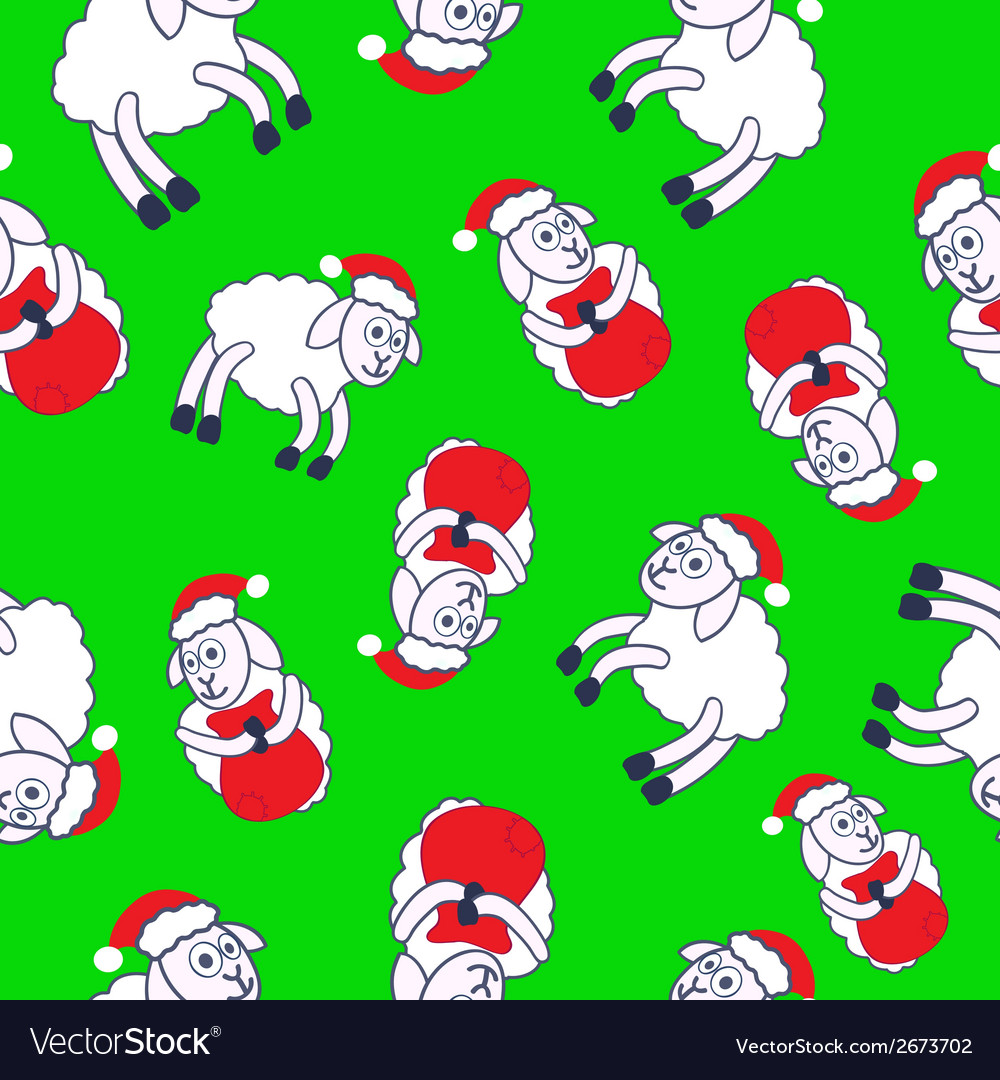 New years sheeps seamless pattern vector   Price: 1 Credit (USD $1)