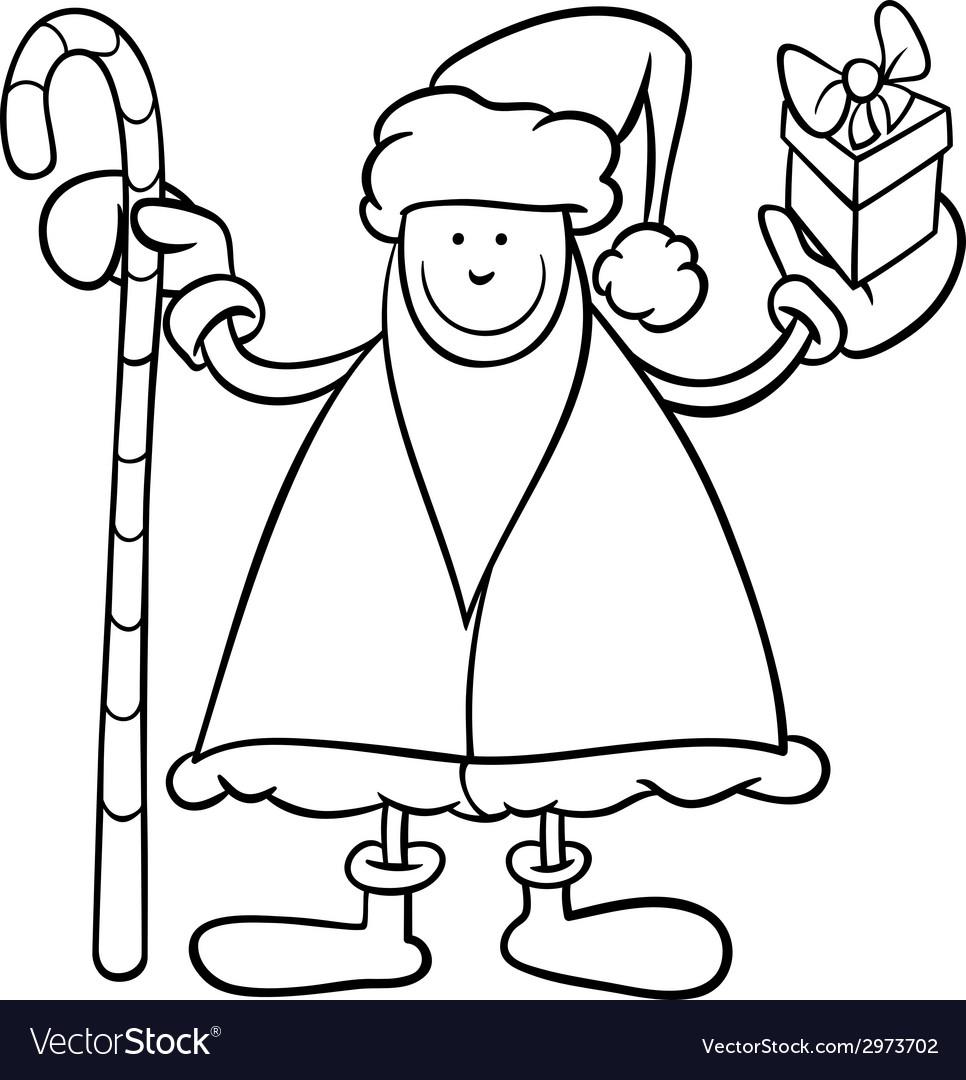 Santa claus cartoon coloring page vector | Price: 1 Credit (USD $1)