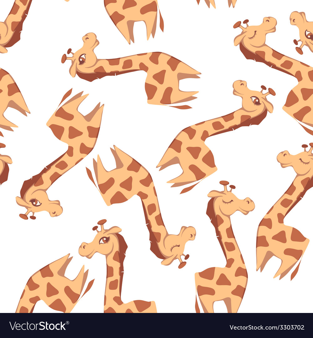 Seamless pattern with giraffes on white background vector | Price: 1 Credit (USD $1)