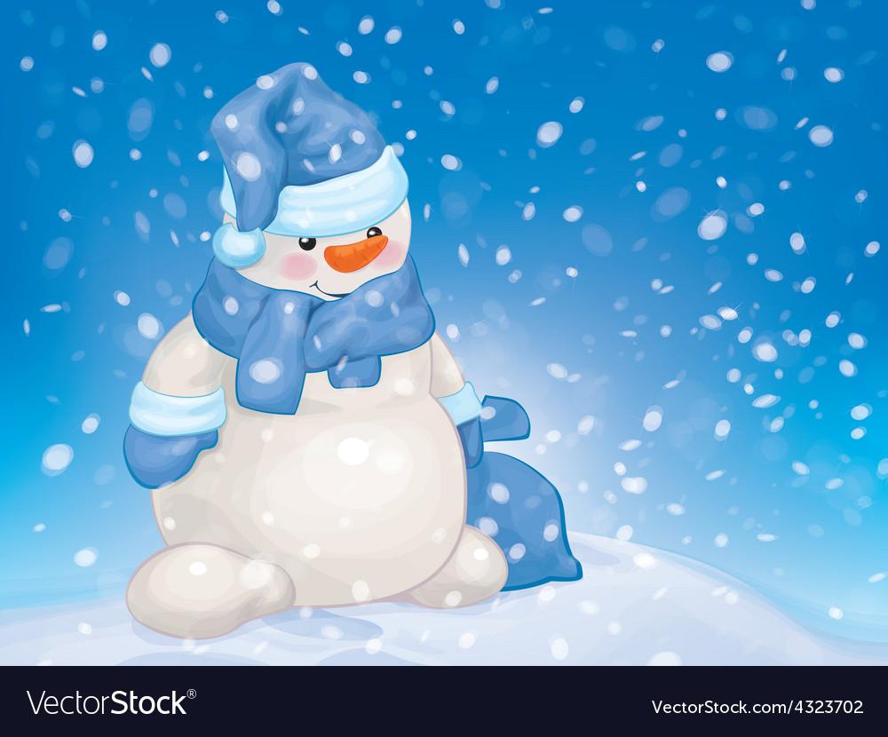 Snowman snowfall blue vector | Price: 3 Credit (USD $3)
