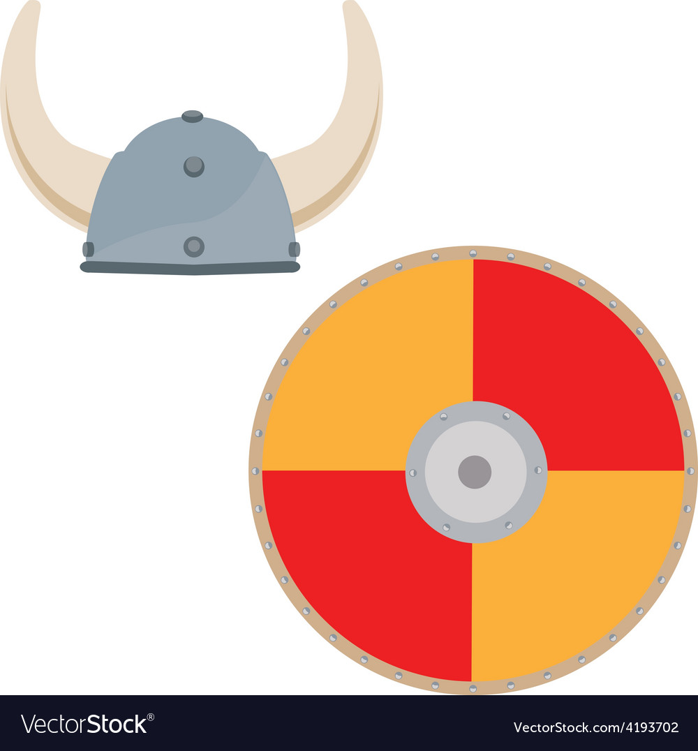 Viking hat and shield vector | Price: 1 Credit (USD $1)