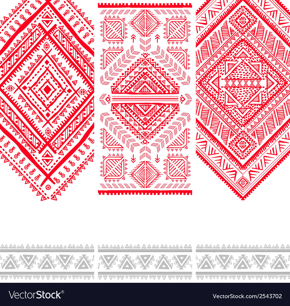 Vintage ethnic set of banners vector | Price: 1 Credit (USD $1)