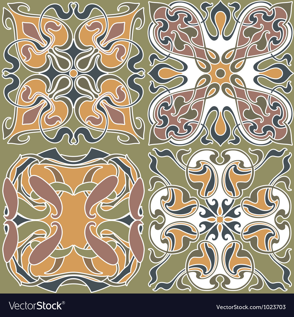 4 art nouveau wallpapers vector | Price: 1 Credit (USD $1)