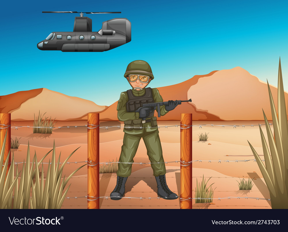 A brave soldier in the battlefield vector | Price: 1 Credit (USD $1)
