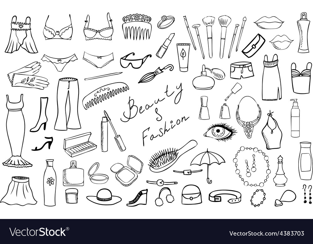 Beauty and fashion items set vector | Price: 1 Credit (USD $1)