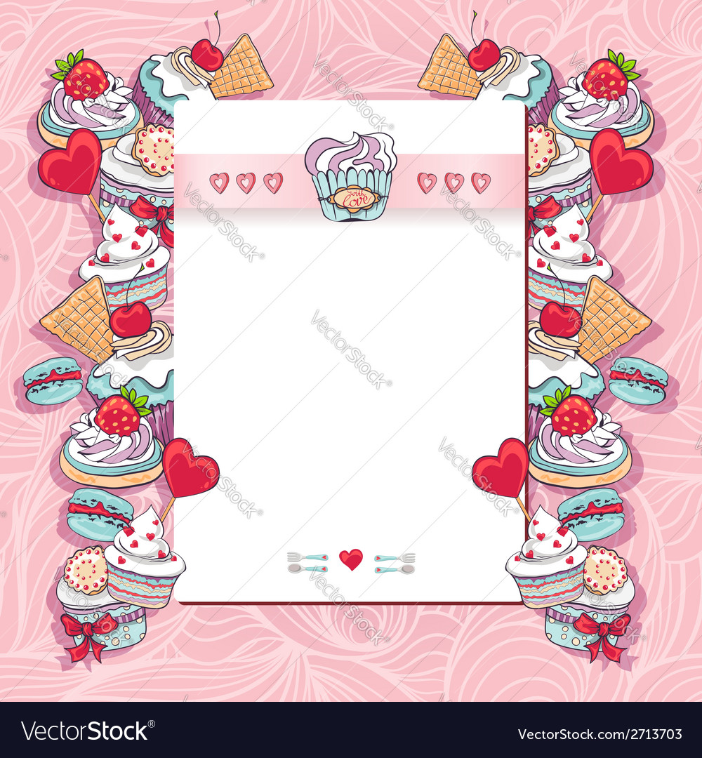 Birthday card with a cupcake vector   Price: 1 Credit (USD $1)