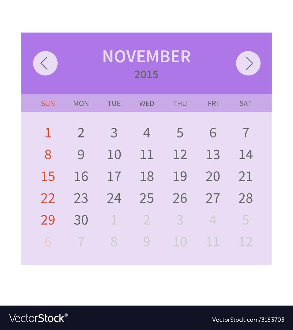 Calendar monthly november 2015 in flat design vector | Price: 1 Credit (USD $1)